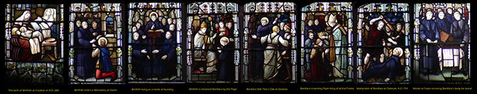 5 scenes from the life of St Boniface in the East Window of Holy Cross